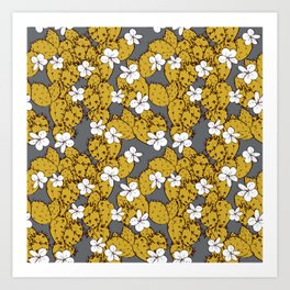 cactus with flowers sketch golden mustard, black contour on Gray background. simple ornament Art Print