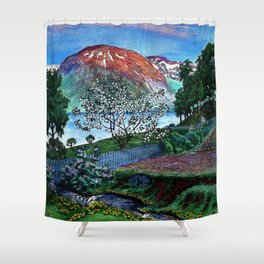 'June Night, Fjord Lakeside, in the Garden' alpine landscape painting by Nikolai Astrup Shower Curtain
