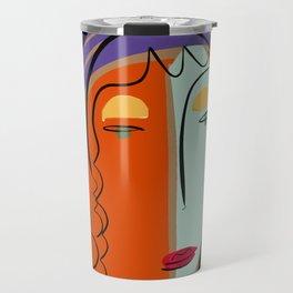 Minimal Expressionist Portrait Orange and Blue Travel Mug