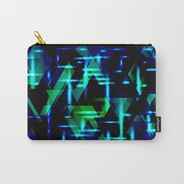 Green and blue highlights on an ultramarine blue metal background. Carry-All Pouch