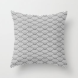 Seigaiha black and white japanese waves Throw Pillow