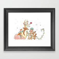 Woodland Winter Friends Framed Art Print