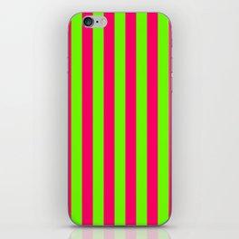 Super Bright Neon Pink and Green Vertical Beach Hut Stripes iPhone Skin