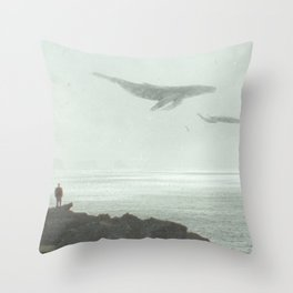 Flying Whales Throw Pillow