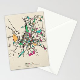 Colorful City Maps: Ithaca, New York Stationery Cards