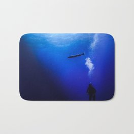 Barracuda with diver Bath Mat