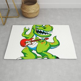 Dino rock plays a guitar. Rug