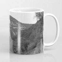 Old Hollywood sign Hollywoodland black and white photograph Coffee Mug