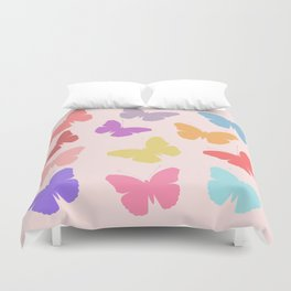 Multicoloured Butterflies on Pink Duvet Cover