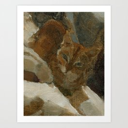Tabby Cat Impressionist Painterly Oil Painting Orange, Blue and White Art Print
