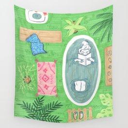 Green Tiled Bath drawing by Amanda Laurel Atkins Wall Tapestry