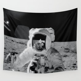 Apollo 12 - Face Of An Astronaut Moon Selfie Wall Tapestry