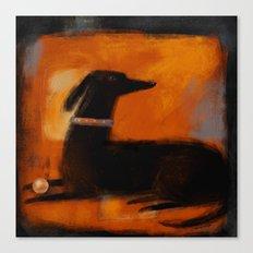 BLACK DOG ON ORANGE Canvas Print
