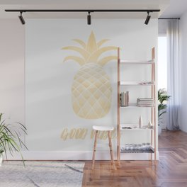 Good Vibes: Gold Pineapple Wall Mural