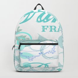 Paris France Blue French Vintage Style Print Backpack