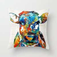 nba Throw Pillows featuring Colorful Cow Art - Mootown - By Sharon Cummings by Sharon Cummings