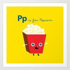 P is for Popcorn Art Print