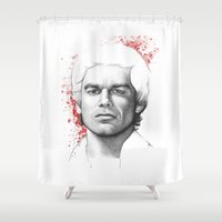 dexter Shower Curtains featuring Dexter  by Olechka