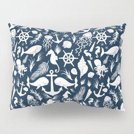 Nautical Silhouettes (White on Navy Blue) Pillow Sham