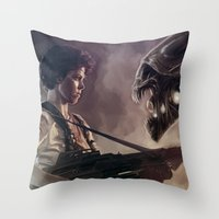 aliens Throw Pillows featuring Aliens by Jehzbell Black