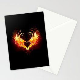 Angel Fire Heart with Wings Stationery Cards