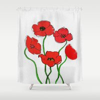poppy Shower Curtains featuring Poppy  by Armine Nersisian