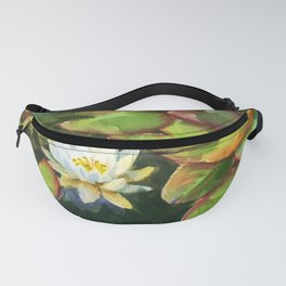 water lily in the pond, watercolor sketch from nature Fanny Pack