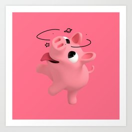 Rosa the Pig is crazy Art Print