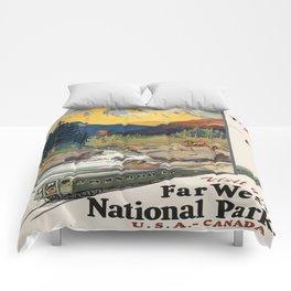 Vintage poster - National parks Comforters