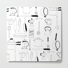 Kitchen essentials in black and white Metal Print