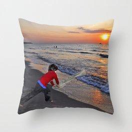 LITTLE DEVIL ON THE SUNSET BEACH Throw Pillow