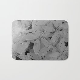 Black and White Blossoms Bath Mat