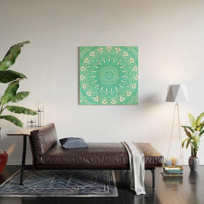 Minimal Aqua Seafoam Mint Green Mandala Simple Minimalistic Wood Wall Art By Aejdesign