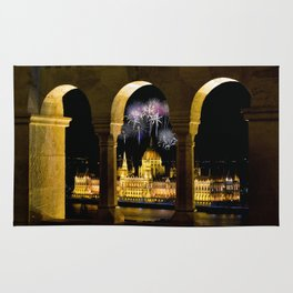 Hungarian Parliament with fireworks, Rug