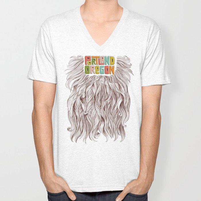 Portland = Beards Unisex V-Neck