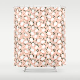 Summer Lemons on Pink Shower Curtain