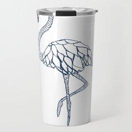 Navy Blue Flamingo Travel Mug