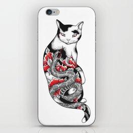 Cat in Grey Snake Tattoo iPhone Skin
