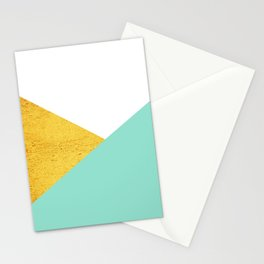 Gold & Aqua Blue Geometry Stationery Cards