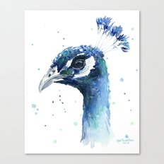 Peacock Watercolor Painting Bird Animal Canvas Print