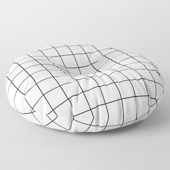 Grid Stripe Lines Black and White Minimalist Geometric Floor Pillow