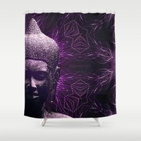 meditation Shower Curtains featuring Meditation by JG-DESIGN