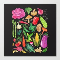 oana befort Canvas Prints featuring VEGGIES in black by Oana Befort