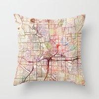 atlanta Throw Pillows featuring Atlanta by MapMapMaps.Watercolors