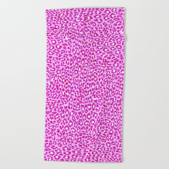 Light Pink Glitter Cheetah Print Beach Towel
