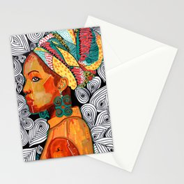 Portrait of a woman Jackie with multicolored headwrap Stationery Cards