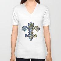 fleur de lis V-neck T-shirts featuring Fleur De Lis by Miss Emily Claire