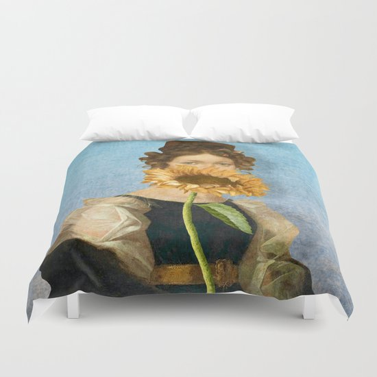 Girl with Sunflower 1 Duvet Cover