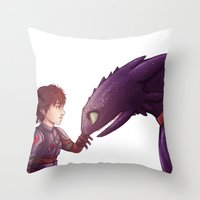 hiccup Throw Pillows featuring Hiccup & Toothless by MaliceZ