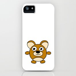 Drawn by hand a happy lovely bear for children and adults iPhone Case